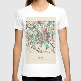 Colorful City Maps: Milan, Italy T-shirt