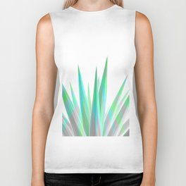 Tropical Allure - Green & Grey on White Biker Tank