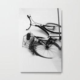 Snow Bicycle Metal Print