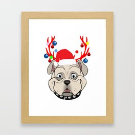Funny Bulldogs with Antlers Christmas XMAS print Framed Art Print
