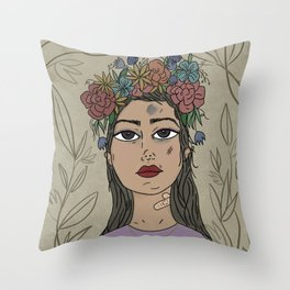Trying - Purple, Girl Portrait,  Flower  Illustration Throw Pillow