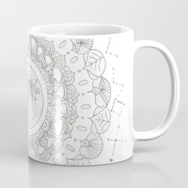 Mandala with Full Moon and Constellations Illustration Coffee Mug