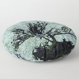 Tree Silhouette - blue marble-effect background Floor Pillow