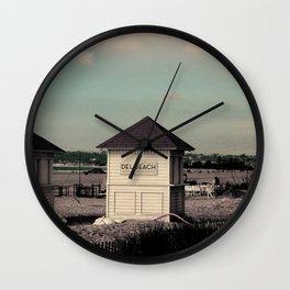 Del Beach Huts Wall Clock