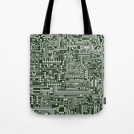 Circuit Board // Green & White Tote Bag