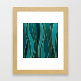 Teal Leather and Gold Sea  Wave Pattern Framed Art Print