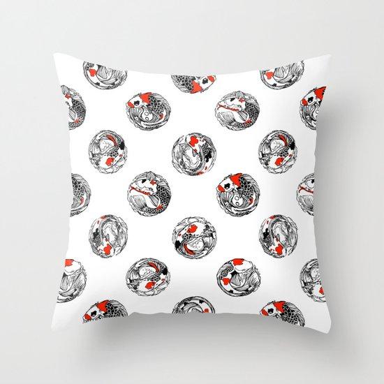 Polka koi Throw Pillow