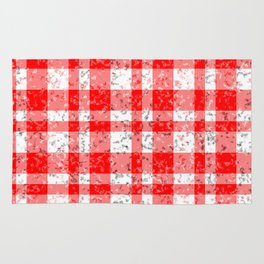 Red White Patchy Marble Tartan Pattern Rug