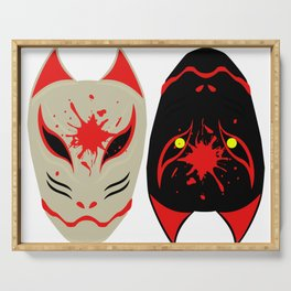 """Japanese Fox Mask """"Good and Evil"""" Serving Tray"""