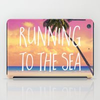 running iPad Cases featuring Running to the Sea by Text Guy