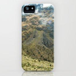 Mountain Scene | Cloudy Green Mountain Nature Landscape Photography in Peru iPhone Case