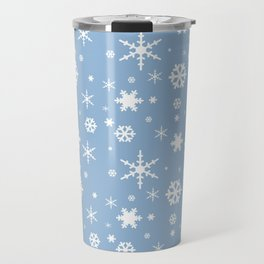 Airy Blue and White Snowflakes Winter 2016 Holiday Pattern Travel Mug