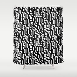 typography pattern 4 - seamless   calligraphy design - black and white Shower Curtain