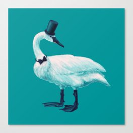 Funny Swan With Bowtie And Cylinder Hat Canvas Print