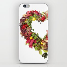 Autumnal wreath in the shape of heart from colored leaves of grapes, berries, quince, isolated on wh iPhone Skin