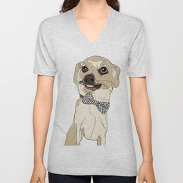 Chihuahua with Bow Tie Unisex V-Neck