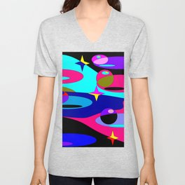 Planets and Stars in Darker Tones Unisex V-Neck