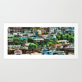 Colorful Fisherman's Town - Rio Negro, Brazil - Magical Realism Art Print