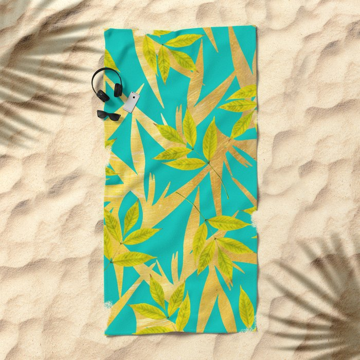 Gold & Teal Florals #society6 #decor #buyart Beach Towel