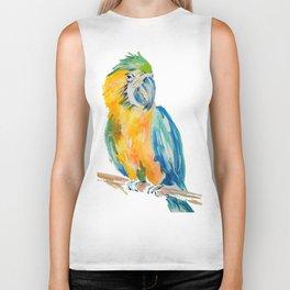 Parrot watercolour painting Biker Tank