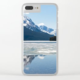 Rocky mountains reflecting in Maligne lake Clear iPhone Case