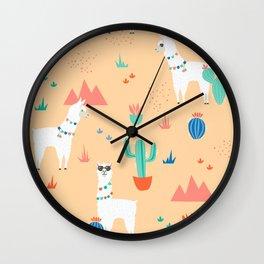 Summer Llamas Wall Clock