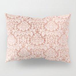 Vintage white faux rose gold elegant floral damask Pillow Sham