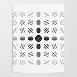 Black and White centered lines Poster