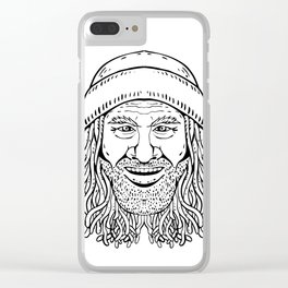 Rastafarian Dude Head Front Drawing Black and White Clear iPhone Case