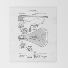patent art Broadbent Saddle for Velocipedes 1893 Throw Blanket