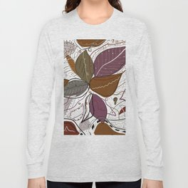 Active Wear Abstract Leaves Pattern Long Sleeve T-shirt