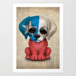 Cute Puppy Dog with flag of Chile Art Print