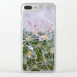 Dew Covered Cactus Clear iPhone Case