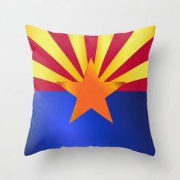 Arizona State Flag Gloss Throw Pillow
