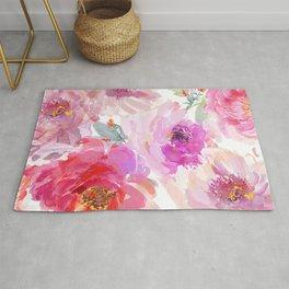 Big Watercolor Flowers in Violet and Pink Rug