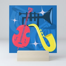 Jazz Composition With Bass, Saxophone And Trumpet Mini Art Print