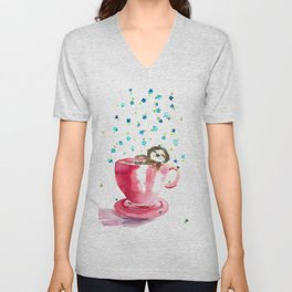 Sloth in coffee cup Unisex V-Neck