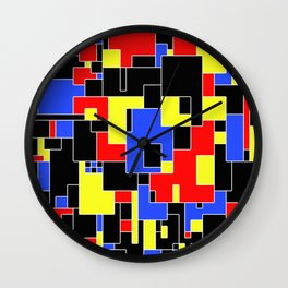 Primary Plans - Abstract, geometric map in primary colours Wall Clock