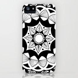 Moroccan black mandala on white iPhone Case