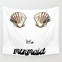 the little mermaid Wall Tapestries featuring Mermaid by terezamc.