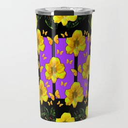 BLACK ART  YELLOW AMARYLLIS FLOWERS BUTTERFLY FLORAL Travel Mug