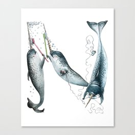 N is for Narwhals! The Laugh-A-Bit Alphabet animal letter N - ABCs by BirdsFlyOver Canvas Print
