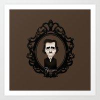 edgar allan poe Art Prints featuring Edgar Allan Poe by Designs By Misty Blue (Misty Lemons)
