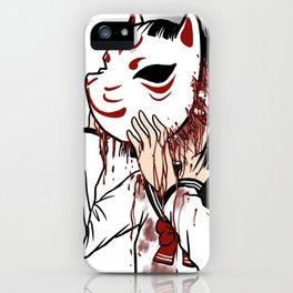 Behind the Mask - Kitsune Masked School Girl iPhone Case