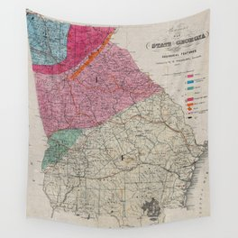 Vintage Georgia Geological Map (1849) Wall Tapestry