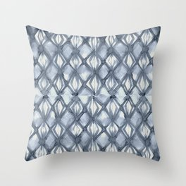 Braided Diamond Indigo Blue on Lunar Gray Throw Pillow