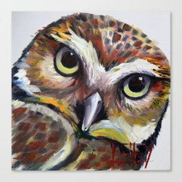 Burrowing Owl Palette Knife Painting in Oil by Award Winning San Francisco Bay Artist Lisa Elley Canvas Print