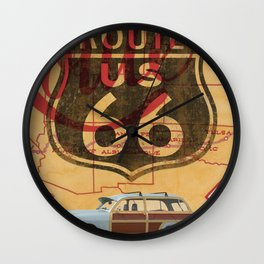 Route 66 Vintage Travel Poster Wall Clock