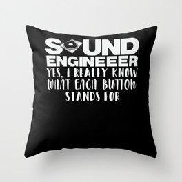 Sound Engineer Mixer Joke Turntable Audiophile Throw Pillow