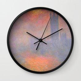 Claude Monet - London, the Houses of Parliament, Sunlight Opening in Fog.jpg Wall Clock